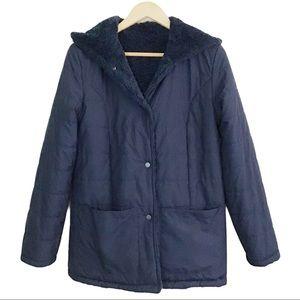Halogen Reversible Sherpa Hooded Coat Navy Blue